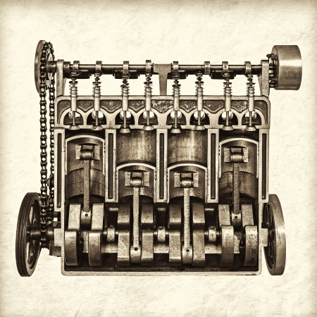 flywheel: Retro styled image of a partly cutaway old classic car engine