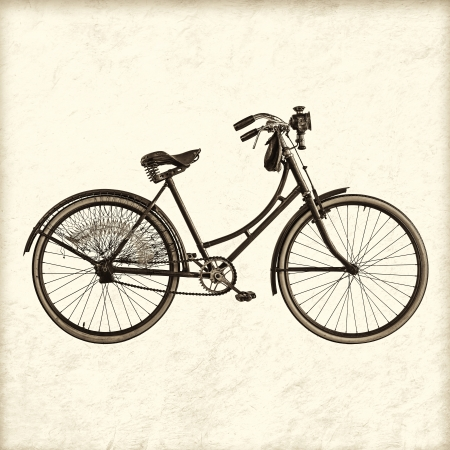 Retro styled image of a vintage early twentieth century Dutch lady bicycle with lantern