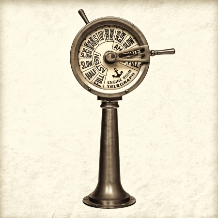 brass instrument: Retro styled sepia image of a nineteenth century engine room telegraph Stock Photo