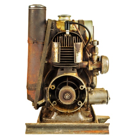 diesel generator: Old rusty motor engine isolated on a white background