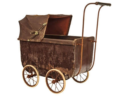 nineteenth: Nineteenth Century brown baby pram isolated on a white background