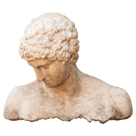 Ancient athlete torso of a man isolated on a white background photo
