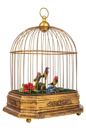 bird cage: Vintage golden birdcage with fake little birds isolated on a white background Stock Photo