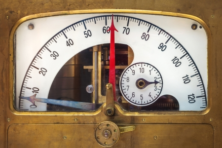 analogs: Vintage measurement instrument with a red needle indicator in a copper casing