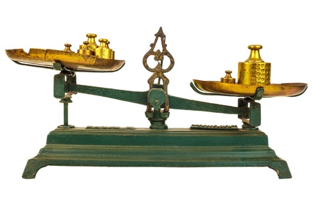 Vintage green weight balance scale isolated on white with old counterweights on the trays