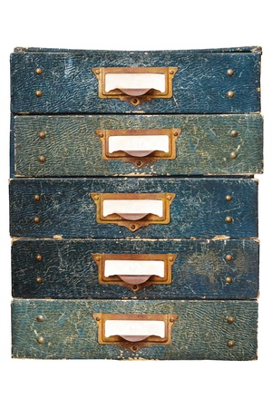 Group of five vintage filing drawers with empty labels isolated on a white background photo