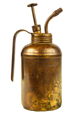 lubricator: Vintage weathered oil can with handle isolated on a white background Stock Photo