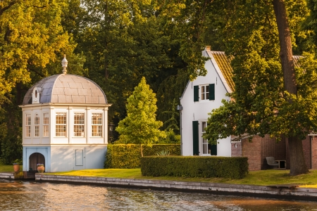 manor: Old historic boathouse alongside the Dutch Vecht river