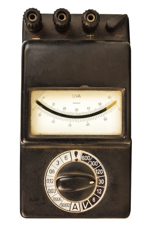 Vintage black volt meter isolated on a white background photo