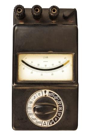 ammeter: Vintage black volt meter isolated on a white background