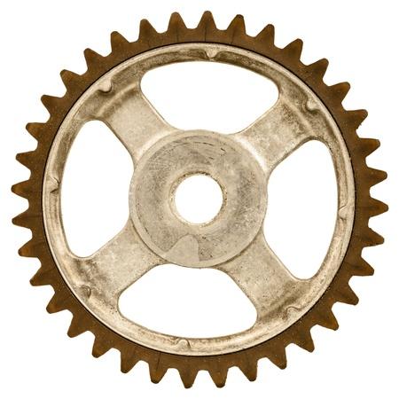 Retro style image d'une vieille roue dentée isolé sur un fond blanc