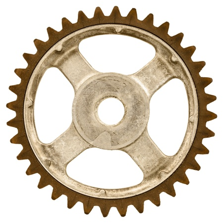Retro styled image of an old gear wheel isolated on a white background photo