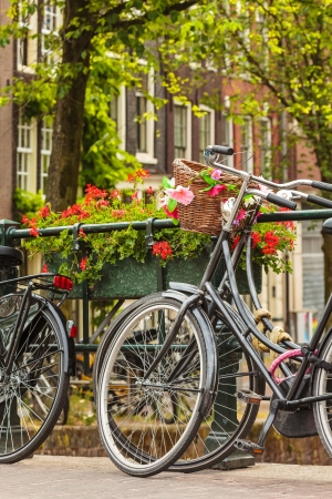 Summer view of bicycles with flowers on a canal bridge in the Dutch city Amsterdam