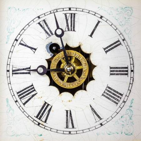 Vintage weathered white clock face with roman numbers