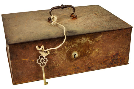 valuable: Vintage rusted metal box with key isolated on a white background
