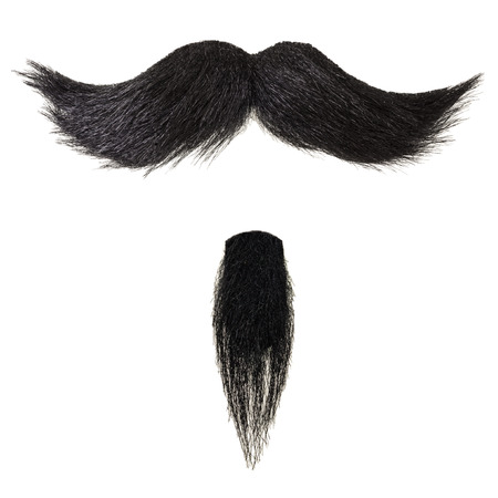 Black curly mustache and goatee beard isolated on a white background Stock Photo
