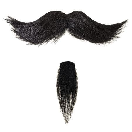 Moustache noirs bouclés et barbiche isolé sur un fond blanc Banque d'images