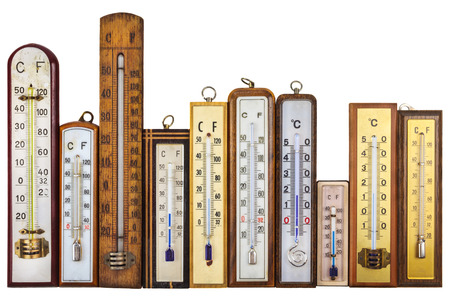 Set of retro thermometers isolated on a white background photo