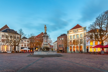 Evening view of the central square in the historic Dutch city Deventer