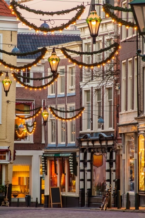 christmas morning: Dutch shopping street with Christmas decoration in the old city center of The Hague