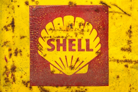 DREMPT - NOVEMBER 15  Vintage emblem of the Shell Oil Company on November 15, 2013 in Drempt, The Netherlands  Shell Oil Company is a subsidiary of Royal Dutch Shell, a multinational oil company