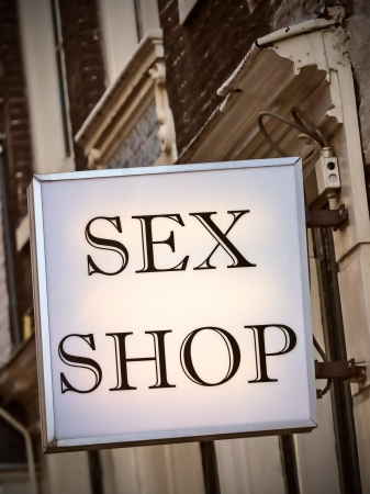 Generic Dutch sex shop sign in the red light district in Amsterdam photo