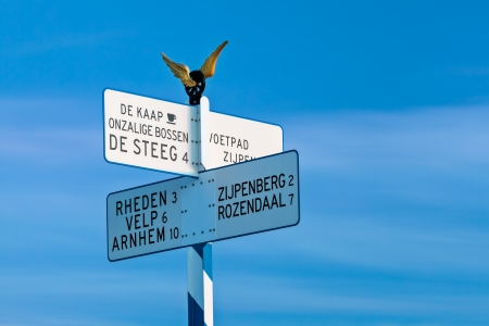 posbank: Direction sign on top of the famous Posbank, part of national park Veluwe in The Netherlands Editorial