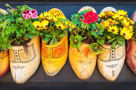 Alte Holz-Clogs mit blühenden Blumen hängen auf einem schwarzen Holzwand in den Niederlanden
