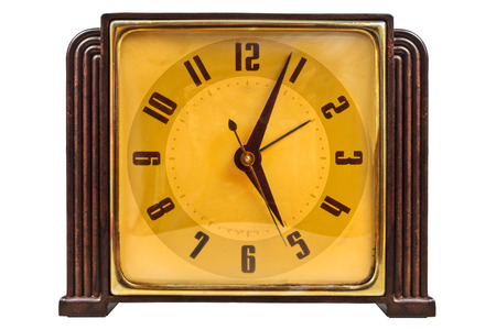 bakelite: Bakelite art deco pendulum clock isolated on a white background