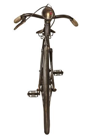 Retro-Stil Bild von einem Fahrrad neunzehnten Jahrhunderts mit Laterne, die isoliert auf weißem Hintergrund
