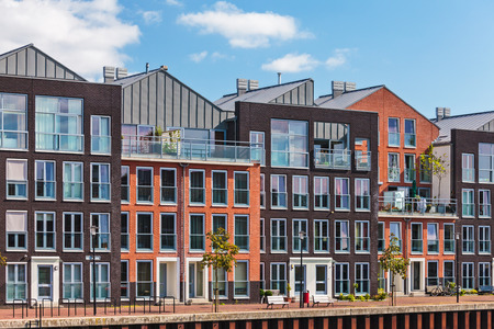 Modern Dutch canal houses in the city of Dordrecht photo