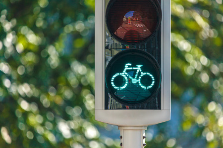 Bicycle traffic light in The Netherlands with trees in the background Stock Photo
