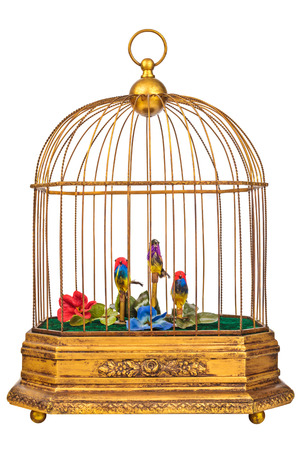 birdcage: Vintage golden birdcage with fake little birds isolated on a white background Stock Photo