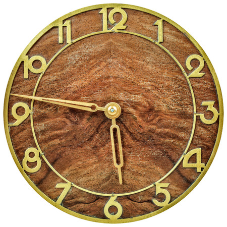 2nd century: Art deco design wooden clockface from the early twentieth century isolated on a white background Stock Photo