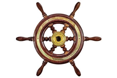 Vintage houten schip stuurwiel roer geïsoleerd op een witte achtergrond Stockfoto