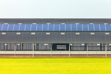 Solar panels on a new farm barn in The Netherlands