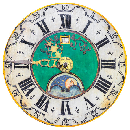 caritas pintadas: Antigua esfera del reloj ornamental aislado en blanco