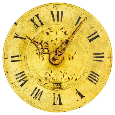 Alte dekorative Zifferblatt mit römischen Zahlen auf einem weißen Hintergrund Standard-Bild - 27494731