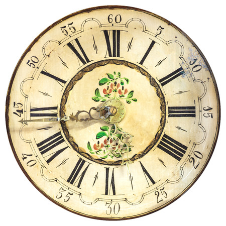 ancient pass: Ancient ornamental clock face with roman numbers isolated on a white background