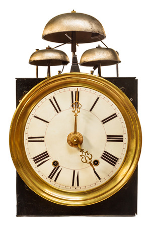 Vintage clock with three bells on top isolated on a white background Stockfoto