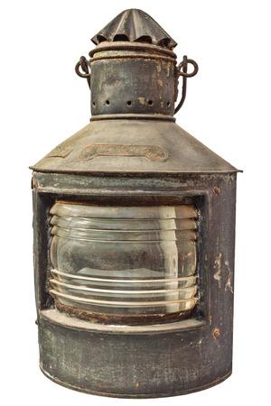 hurricane lamp: Large vintage storm lantern isolated on a white background