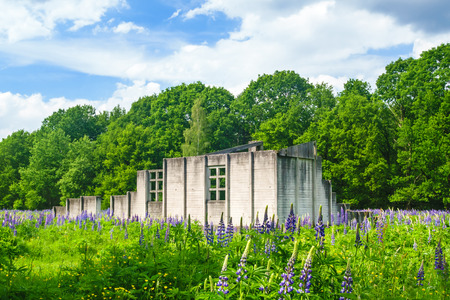 HOOGHALEN, THE NETHERLANDS - MAY 25, 2014  Parts of a rebuilt hut at the Westerbork transit camp in Hooghalen, a World War II Nazi refugee, detention and transit camp  Its function during the Second World War was to assemble Romani and Dutch Jews for tran