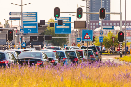 Busy traffic during rush hour in Amsterdam, The Netherlands