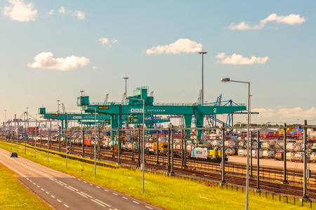 ROTTERDAM, THE NETHERLANDS - JUNE 30, 2014  View at the largest container terminal in Rotterdam harbor, The Netherlands