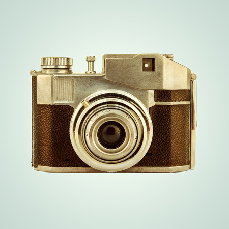 Retro styled image of a simple vintage photo camera Stock Photo