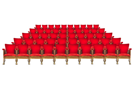 Five rows of vintage red cinema chairs isolated on a white background photo