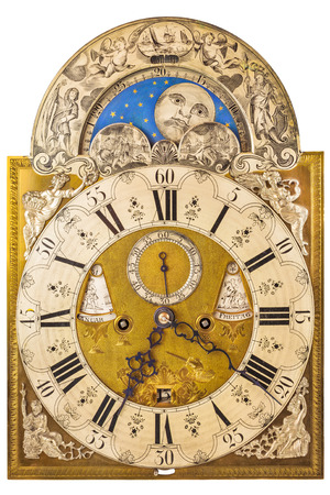 Medieval German clock with moon rotation isolated on a white background photo