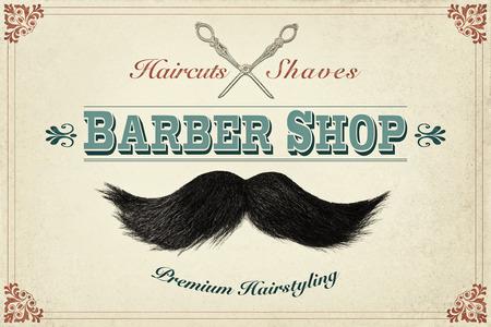 barbero: De estilo retro concepto de diseño para una tienda de barbero con las fotos de un bigote y tijeras de plata Foto de archivo