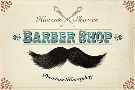 Retro styled design concept for a barber shop with photos of a mustache and silver scissors Stockfoto