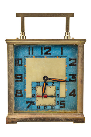 Vintage art deco table clock isolated on a white background photo